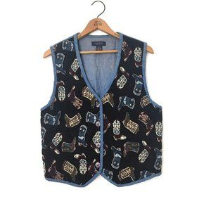 LIFE STYLE Vintage BOOT Pattern Tapestry Vest